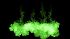 Fluorescent bright green pigment interfuse in water , many drops ink . This is 3d render shot in slow motion for ink. Backgrounds or ink effects in compositing stock footage