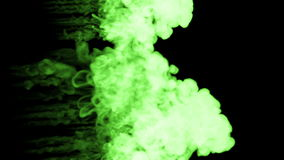 Fluorescent bright green writing ink bubble in water , many drops ink . This is 3d render shot in slow motion for ink stock video footage