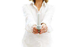 Fluorescent bulb in hands. Of a woman, on white royalty free stock image