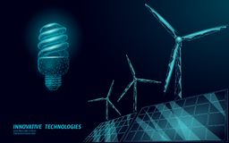 Fluorescent compact light bulb windmills idea business concept. Ecology save environment wind green energy sustainable. Power. Blue low poly polygonal 3D vector illustration