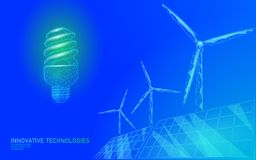 Fluorescent compact light bulb windmills idea business concept. Ecology save environment wind green energy sustainable. Power. Blue green low poly polygonal 3D vector illustration