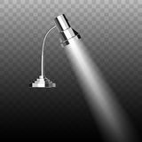 Fluorescent energy saving chrome plated metal table mobile lamp Royalty Free Stock Image