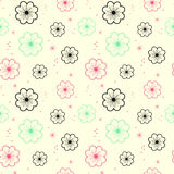 Fluorescent flowers cute seamless pattern background illustration Royalty Free Stock Images