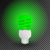 Fluorescent green economical light bulb glowing on a transparent background. Save energy lamp. Royalty Free Stock Image