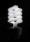 Fluorescent lamp. White spiral solar energy saving lamps Royalty Free Stock Photo