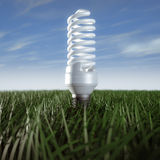 Fluorescent lamp. 3d rendering of a fluorescent lamp in a green field Royalty Free Stock Images