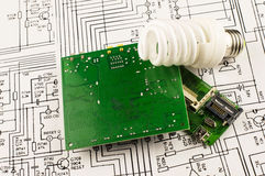Fluorescent lamp and chip Royalty Free Stock Photography