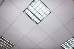 Fluorescent lamp on the modern ceiling Stock Photo