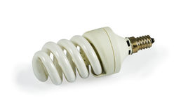 Fluorescent Light Bulb. Energy saving compact fluorescent light bulb isolated on a white background with light shadow. Image is processed from 16 bit NEF files Stock Image