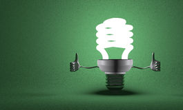 Fluorescent light bulb character giving thumbs up Royalty Free Stock Photography