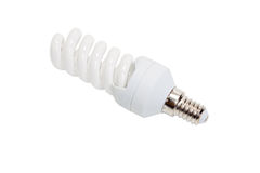 Fluorescent light bulb. Isolated on a white background Stock Images