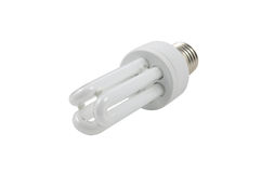 Fluorescent light bulb isolated in white background. Energy saving Light bulb on white background Stock Images