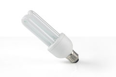 Fluorescent light bulb on white background Royalty Free Stock Image