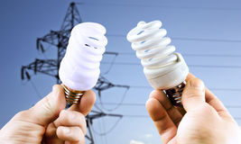 Fluorescent light bulbs in hands Stock Image