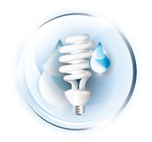 Fluorescent lightbulb with drops Stock Photo