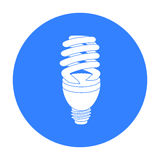 Fluorescent lightbulb icon in black style isolated on white background. Light source symbol stock vector illustration Royalty Free Stock Images