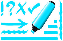 Fluorescent Marker Blue Royalty Free Stock Images