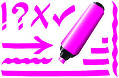 Fluorescent Marker Pink. Pink fluorescent marker - plus some fluorescing signs like call sign, question mark, tick mark, arrow and underlining royalty free illustration