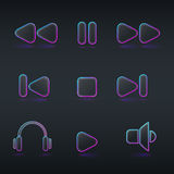 Fluorescent neon media buttons icon Royalty Free Stock Photography