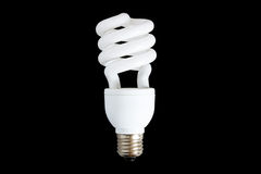 Fluorescent Power Saving Light. Compact Fluorescent Efficient Power Saving Light Bulb. With Clipping Path Royalty Free Stock Photo