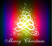 Fluorescent Red Purple Christmas Tree Silhouette. For Greetings Background Stock Illustration