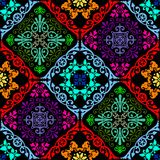 Fluorescent seamless tapestry. Fusion of old damask ornament with fluorescent colors stock illustration