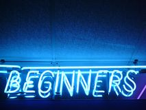 Fluorescent Sign: Beginners Royalty Free Stock Photos