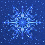 Fluorescent star on blue background with sparkles Royalty Free Stock Image