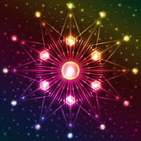 Fluorescent star on dark colorful background with plenty of sparkles Royalty Free Stock Images