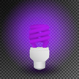 Fluorescent ultraviolet economical light bulb glowing on a transparent background. Save energy lamp. Royalty Free Stock Photos