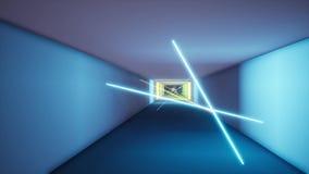 Fluorescent ultraviolet light colorful laser neon lines tunnel. Feometric endless tunnel, blue pink spectrum 3d render