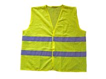 Fluorescent vest. Or waistcoat, isolated on white Royalty Free Stock Photos