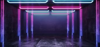 Fluorescent Vibrant Neon Futuristic Sci Fi Glowing Purple Blue Virtual Reality Cyber Tunnel Concrete Grunge Floor Room Hall Studio. Stage Empty Space Background stock illustration