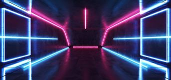 Fluorescent Vibrant Neon Futuristic Sci Fi Glowing Purple Blue Virtual Reality Cyber Tunnel Concrete Grunge Floor Room Hall Studio. Stage Empty Space Background vector illustration