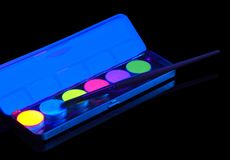 Fluorescent watercolors Stock Photo