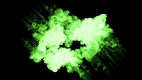 Fluorescente heldergroene tintstroom in water, vele dalingeninkt Dit is 3d teruggeeft schot in langzame motie voor inktachtergron stock footage