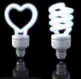 Fluorescente lampen, spiraalvormige gevormd, gestalte gegeven hart, witte gloed, het 3d teruggeven op donkere achtergrond royalty-vrije illustratie