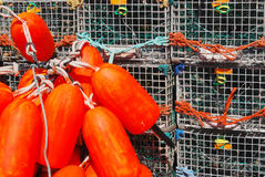 Fluorescents. Orange fluorescent buoys in front of stacked lobster traps in Maine Stock Image