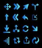 Fluorescerande blåa pilar Vektor Illustrationer