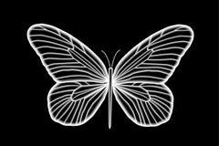 Fluorescerande vit fjäril stock illustrationer