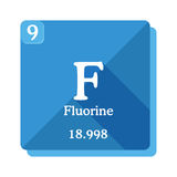 Fluorine chemical element. Periodic table of the elements. Fluorine icon on blue background. Vector illustration in flat style with modern long shadow Stock Images