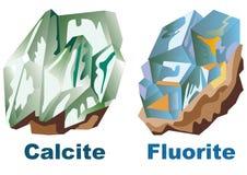 Fluorine en cristal minérale de calcite illustration stock