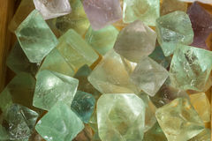 Fluorite crystals glinting in the sun. Fluorite crystals used for health, wellbeing and industry Royalty Free Stock Photography