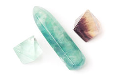 Fluorite crystals and stick Royalty Free Stock Photos