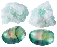 Fluorite (fluorspar) tumbled gem stones and rocks Stock Photos