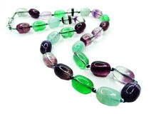 Fluorite gemstone beads necklace jewelery Stock Photography