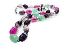 Fluorite gemstone beads necklace jewelery Royalty Free Stock Photos