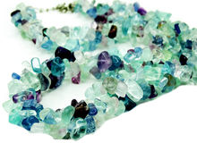 Fluorite gemstone beads necklace jewelery Royalty Free Stock Photo
