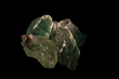 Fluorite. Light green fluorite crystals under side lighting Stock Image