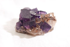 Fluorite and quartz mineral sample Stock Photo